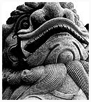 A chinese lion statue